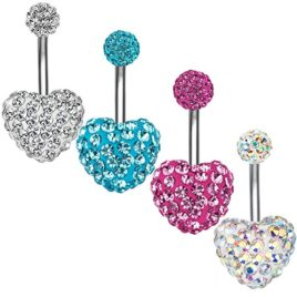 Piercing nombril coeur scintillant